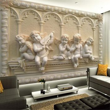 Custom 3d mural wallpaper European style painting stereoscopic relief jade living room TV backdrop bedroom  photo wall paper 3d