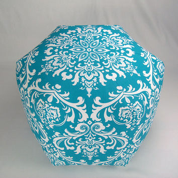 "24"" Floor Ottoman Pouf Pillow Turquoise & White - Damask Contemporary Modern Print"