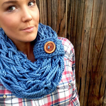 Sea Storm Blue Wool Chunky Thick Knit Infinity Scarf w/ Removable Band & Reclaimed Wood Button Fashion Accessory Woman Girl Unisex Men Wrap