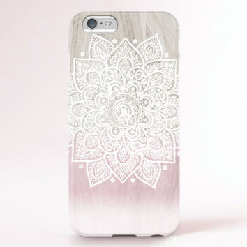 iPhone 6 Case, iPhone 6 Plus Case, iPhone 5S Case, iPhone 5 Case, iPhone 5C Case, iPhone 4S Case, iPhone 4 Case - Mandala wood ombre pink