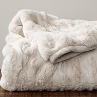 RUCHED FAUX FUR THROW - IVORY