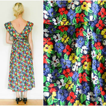 80s vintage dress / 90s backless / floral punk dress / midi dress / 1980s 1990s / retro dress / size medium M