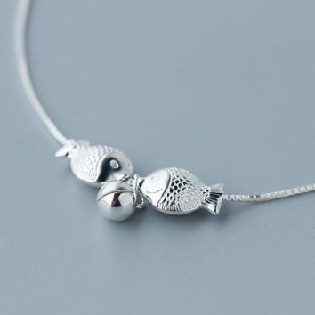 Lovely kiss fish 925 sterling silver necklace , a perfect gift