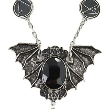 Witchcraft Necronomicon Wicca Magick black stone Bat black magic necklace