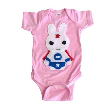Super Hero Onesuit -Team Super Animals - Star Bunny Infant Bodysuit - Baby Shower Gift