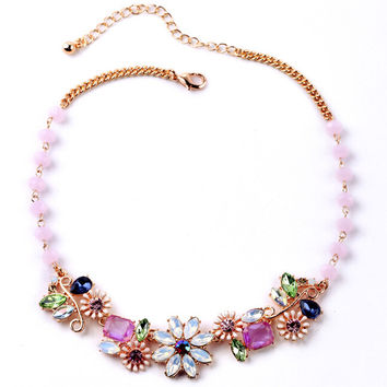 Design Jewelry OL Pink Fresh Flower Bead Necklace For Woman  Christmas Gift
