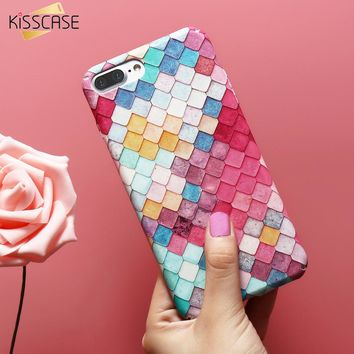 KISSCASE Cute Phone Case For iPhone 6 6S 7 Plus 5 5s 8 X 10 Mermaid 3D Fish Scale Cover For Samsung Note 8 S8 S7 Edge A5 A3 2017