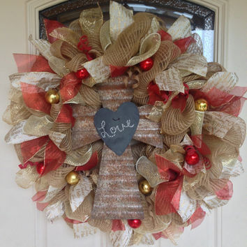 Deco Mesh Cross Wreath, Cross Wreath, Christmas Wreath, Rustic Wreath, Burlap Wreath, Front Door Wreath, Cross Decor, Rustic Decor