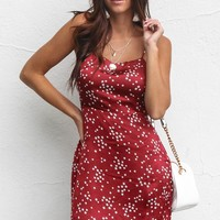 Your Star Wine Satin Star Mini Dress