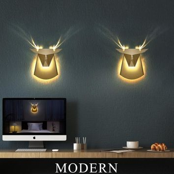Deer head home lighting wall lamp modern plated industrial wall light led for Living room dining room