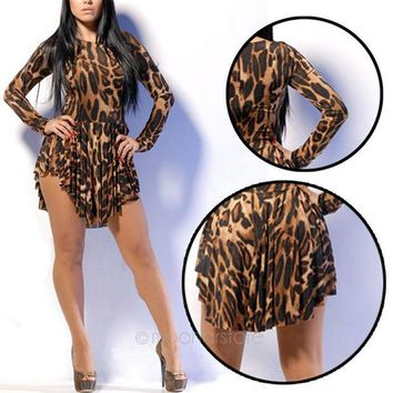 DCCK0OQ Club Sexy Long Sleeve Leopard Bandages Dress One Piece Dress [10486507156]