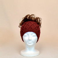 Red Ponytail Hat, Knit Beanie with a Hole, Honeycomb Wide Headband, Runner's Ear Muffs