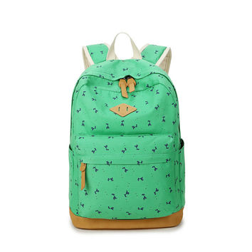 Giraffe Print Simple Fashion Canvas School Backpack