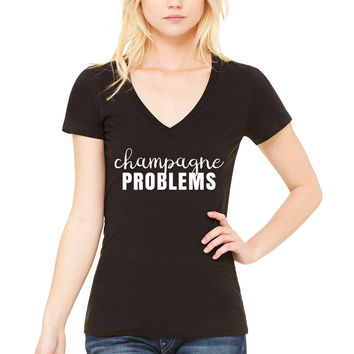 "Nick Jonas ""Champagne Problems"" Women's V-Neck T-Shirt"