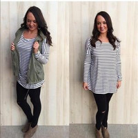 Long Sleeve White and Black Striped Piko -RESTOCK