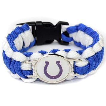 Indianapolis Colts paracord bracelet bangles braided outdoor survivor sports bracelets drop shipping