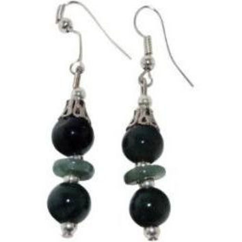 Jade Earrings Green Jade Silver Plate Accents