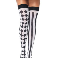 White Diamond Pattern And Stripe Over The Knee Socks