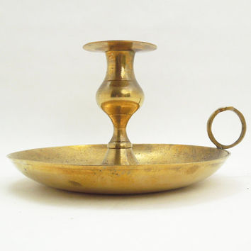 Vintage brass candle holder with handle and tray - Gold-tone brass candle holder