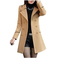 Womens Khaki Brown Double Breasted Button Up Pea Coat