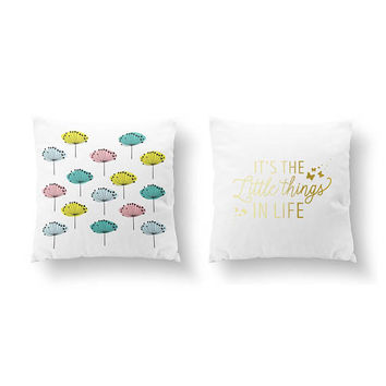 SET of 2 Pillows, Colorful Dandelions Pillow, It's Little Things In Life, Bed Pillow, Throw Pillow, Cushion Cover, Gold Pillow, Flower Art