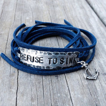 Refuse to Sink anchor wrap bracelet with navy blue faux leather suede cord handstamped hammered