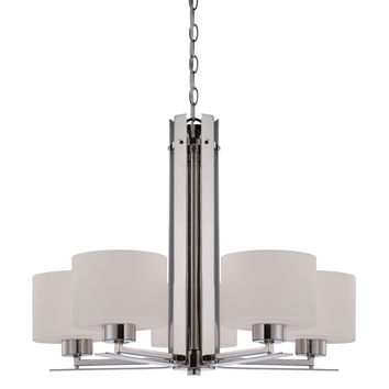 5-Lights Polished Nickel Chandelier with Etched Opal Glass