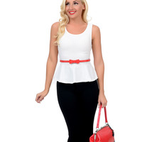 White Heart Cut Out Belted Sleeveless Textile Knit Peplum Top