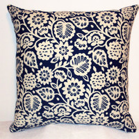 "Pillow Covers 18"" Set of Two - Blue Floral Pattern"