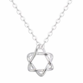 ON SALE - Soft Curves Star of David Sterling Silver Necklace