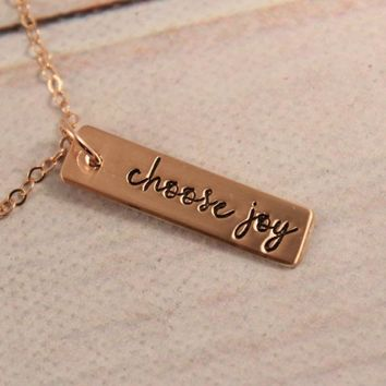 """Choose joy"" 1/4"" bar charm necklace - Sterling Silver, Gold Filled or Rose Gold Filled"