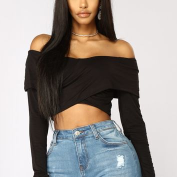 Feel Good Cropped Off Shoulder Top - Black