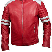 Tyler Durden Fight Club Mayhem Red and White Faux Leather Jacket - Best Deal....