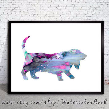 Basset Hound 2 Watercolor Print Archival, Basset Hound Art, Basset Hound silhouette, dog silhouette, watercolor painting, dog art,dog print,