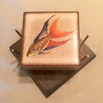 Vintage Ceramic Coaster Set with Tropical Fish/Ceramic Coasters/Tropical Fish Coasters/Vintage Gift