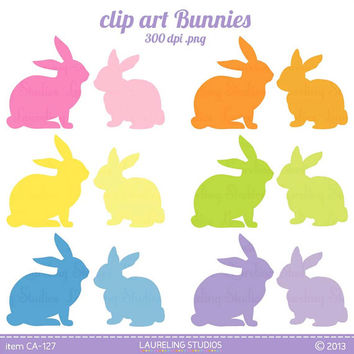 Easter Bunny Clip Art Rabbit Clipart Silhouette Digital Scrapbook Supplies