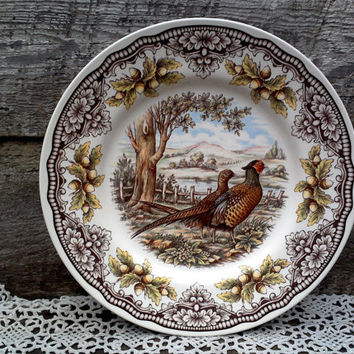 "Turkey Plate, Turkeys, Pheasants, Woodland Dinner Plate, ""Victorian English Pottery Series"" Edward Challinor, Thanksgiving 11"", Serving"