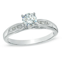 1/2 CT. T.W. Diamond Side Slit Engagement Ring in 10K White Gold