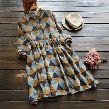 Geometric print  literary  vintage stand collar  long sleeve A-Line  dress  mori girl 2016 autumn
