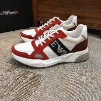 2020 A|X Armani Exchange Men's Low Top Lace Up Sneaker black Fashionable Casual LOW Top Monogram Casual Breathable  running Leisure Sports Shoes Sneakers Shoes Flat Shoe best quality