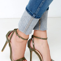 Glam Squad Olive Green Patent Ankle Strap Heels
