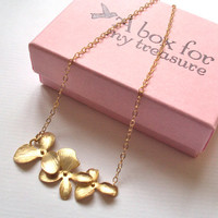 Gold Orchid Flowers necklace - gold filled chain