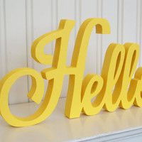 HELLO Wood Word Sign - Handmade Wood Sign, Yellow Painted Hello letter sign