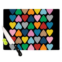 "Project M ""Up and Down Hearts on Black"" Cutting Board"