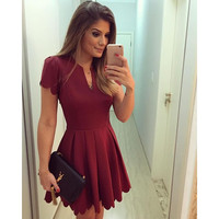Red Cut-Out Pleated Mini Dress