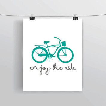Enjoy The Ride Bicycle instant download inspirational quote typography digital prints & posters home decor college dorm creative office
