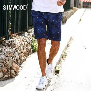 SIMWOOD 2017 Summer New Casual Shorts Men Hawaii Botanical Pattern Cotton  Slim Fit Plus Size Brand Clothing  XD017008