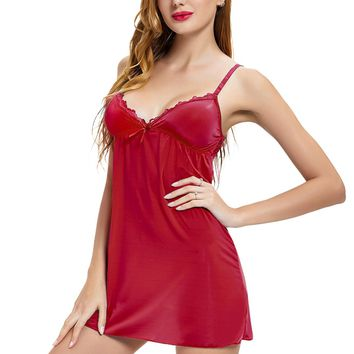 Womens Chemise Nightgown For Women Sexy Dress With Support Bra Slip Lingerie Sleepwear