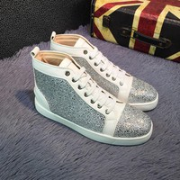 Best Online Sale Christian Louboutin CL Louis Strass Bling Blin White Grey Men's Women Flat Shoes Boots