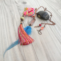 Tribe of Gypsies Necklace, Colorful, Eclectic, Tassel and Feather Pendant with Vintage Embroidery